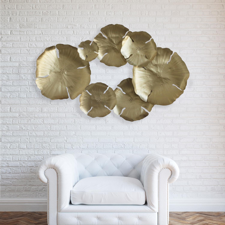 Gold Flower Petal Metal Wall Art