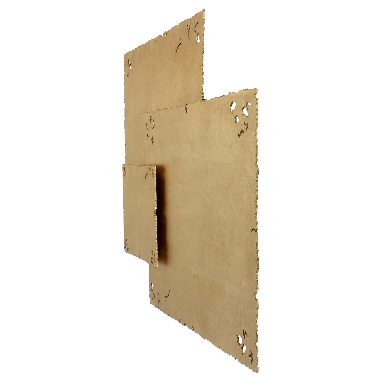 Gold Tactile Squares Wood Wall Art