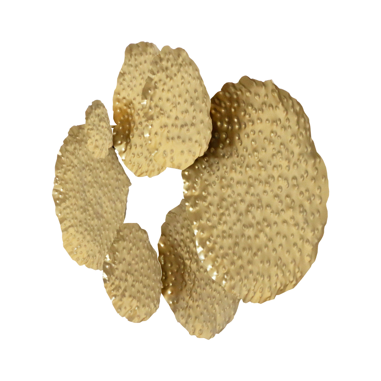 Gold Textured Circles Metal Wall Art
