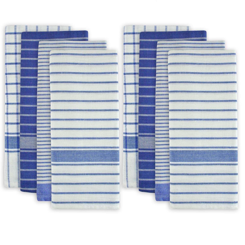 Stripes and Checkered Blue Dishtowel Set of 8