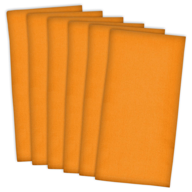 Bright Solid Orange Dishtowel Set of 6