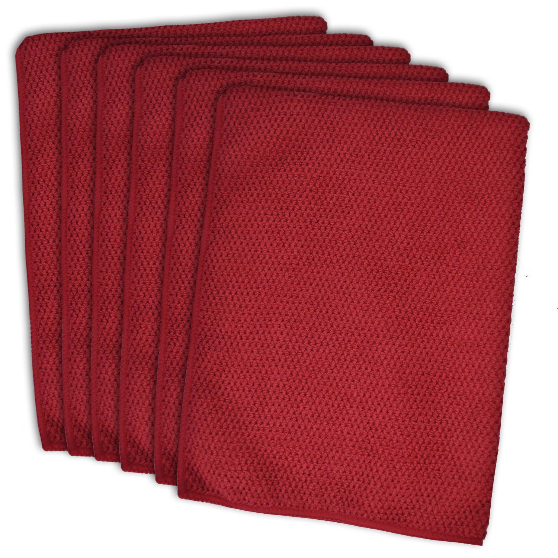 Textured Red Dishtowel Set of 6