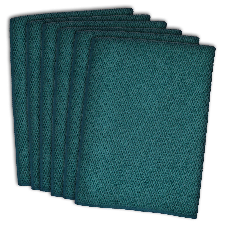 Textured Teal Dishtowel Set of 6