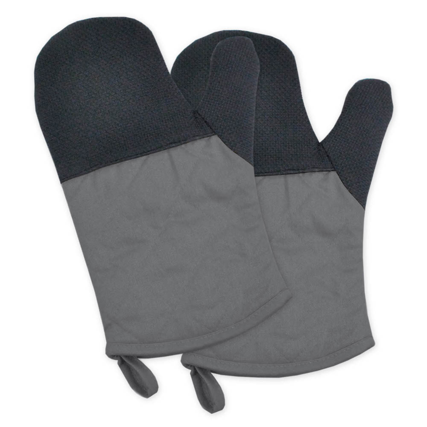 Two-Toned Gray Heat Resistant Oven Mitt Set of 2