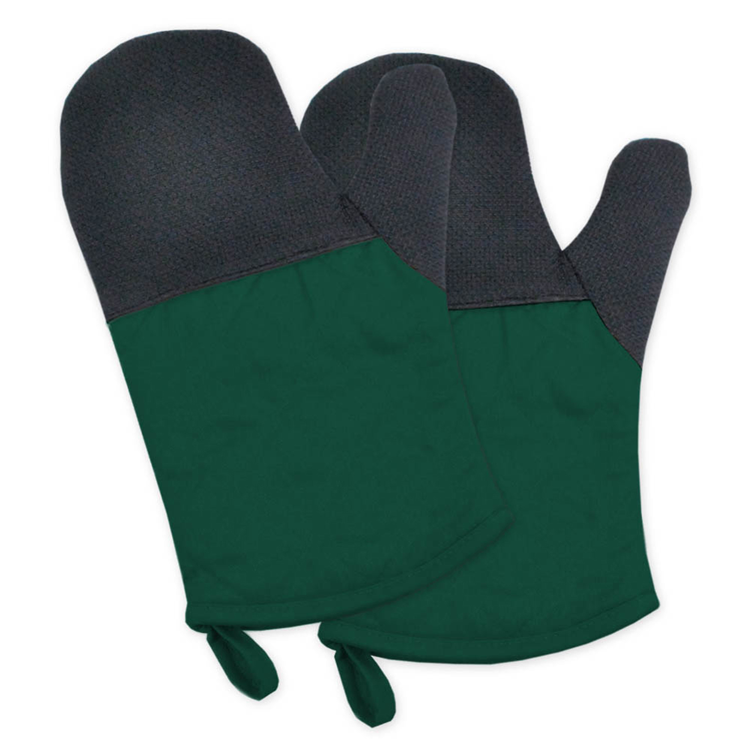 Two-Toned Green Heat Resistant Oven Mitt Set of 2