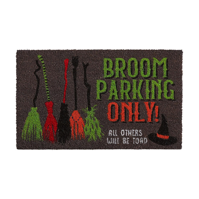 """Halloween Broom Parking Only 2'6""""x1'6"""" Doormat"""