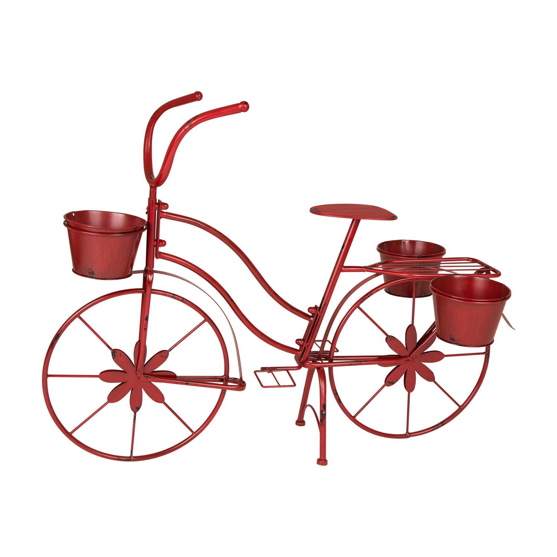 Distressed Red Metal Bike Planter
