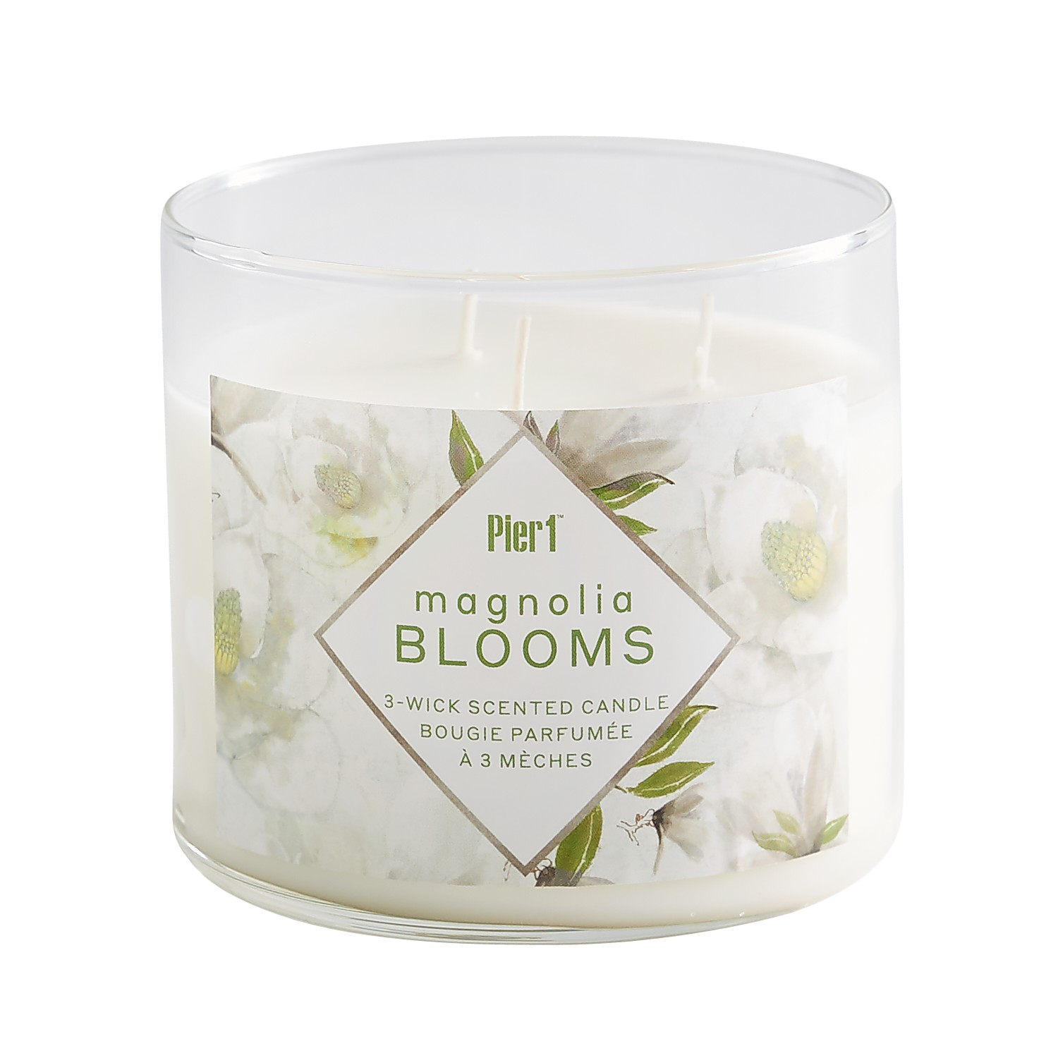 Magnolia Blooms Clear Filled 3-Wick Candle