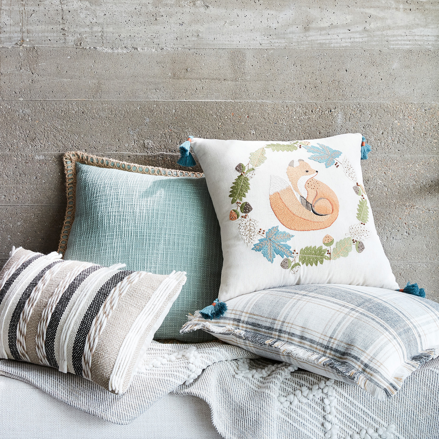 Harvest Fox Pillow with Tassels