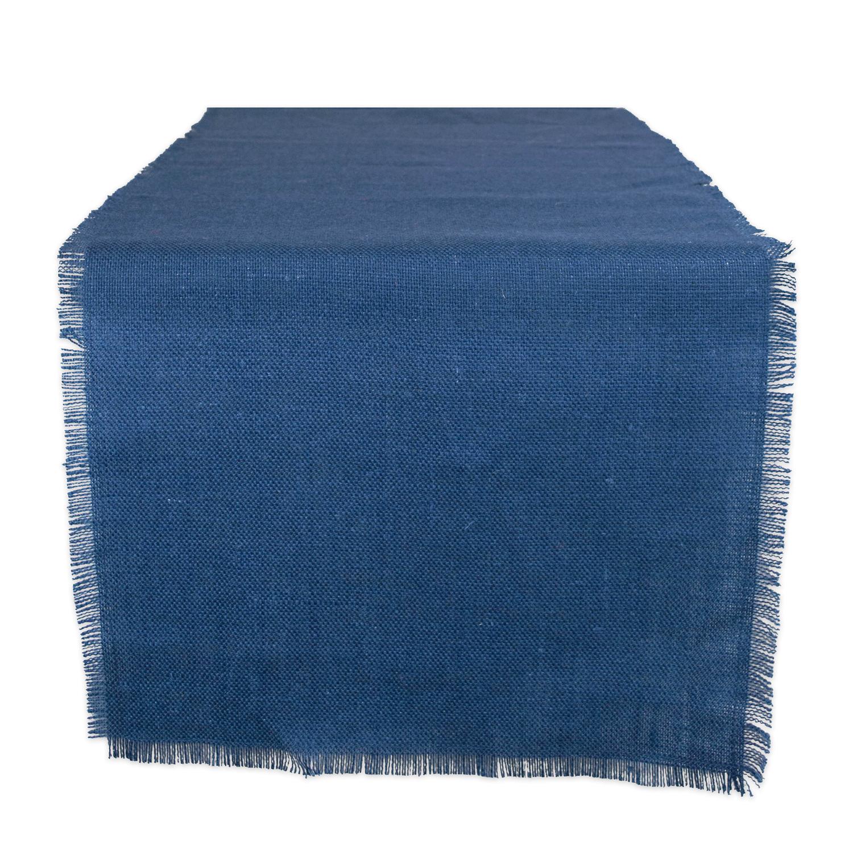 """48"""" Deep Blue Jute Table Runner with Fringe"""
