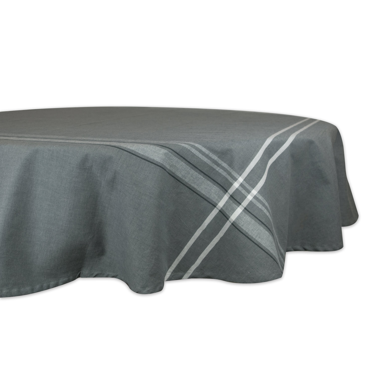 """Bordered Gray 70"""" Round Tablecloth"""