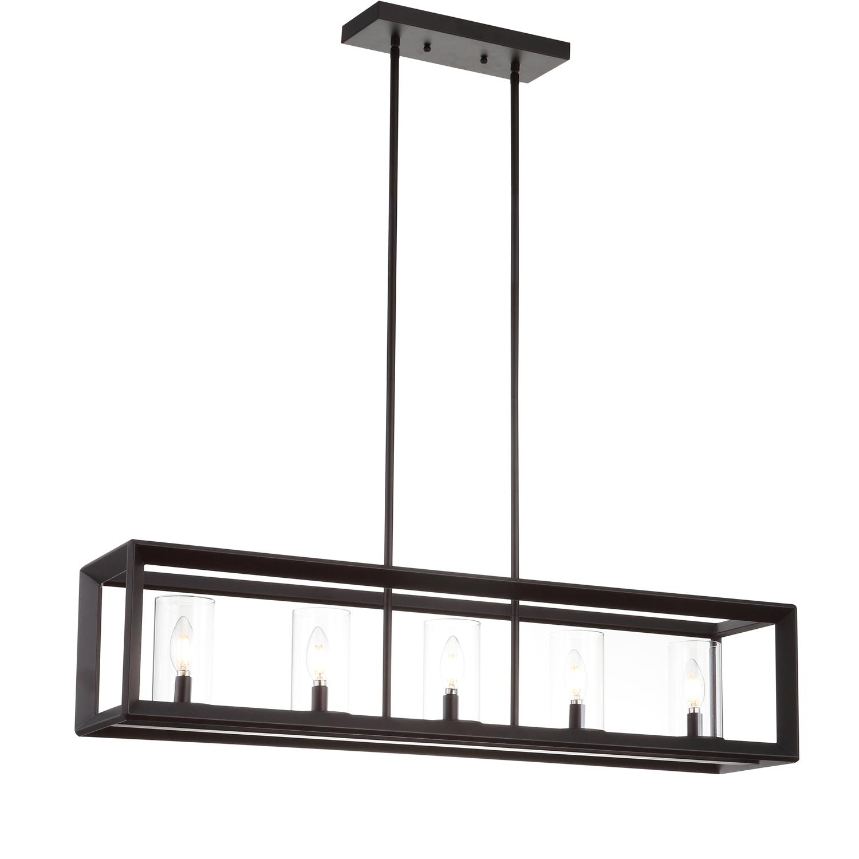 Amelia Bronze 5-Light Metal & Glass LED Pendant