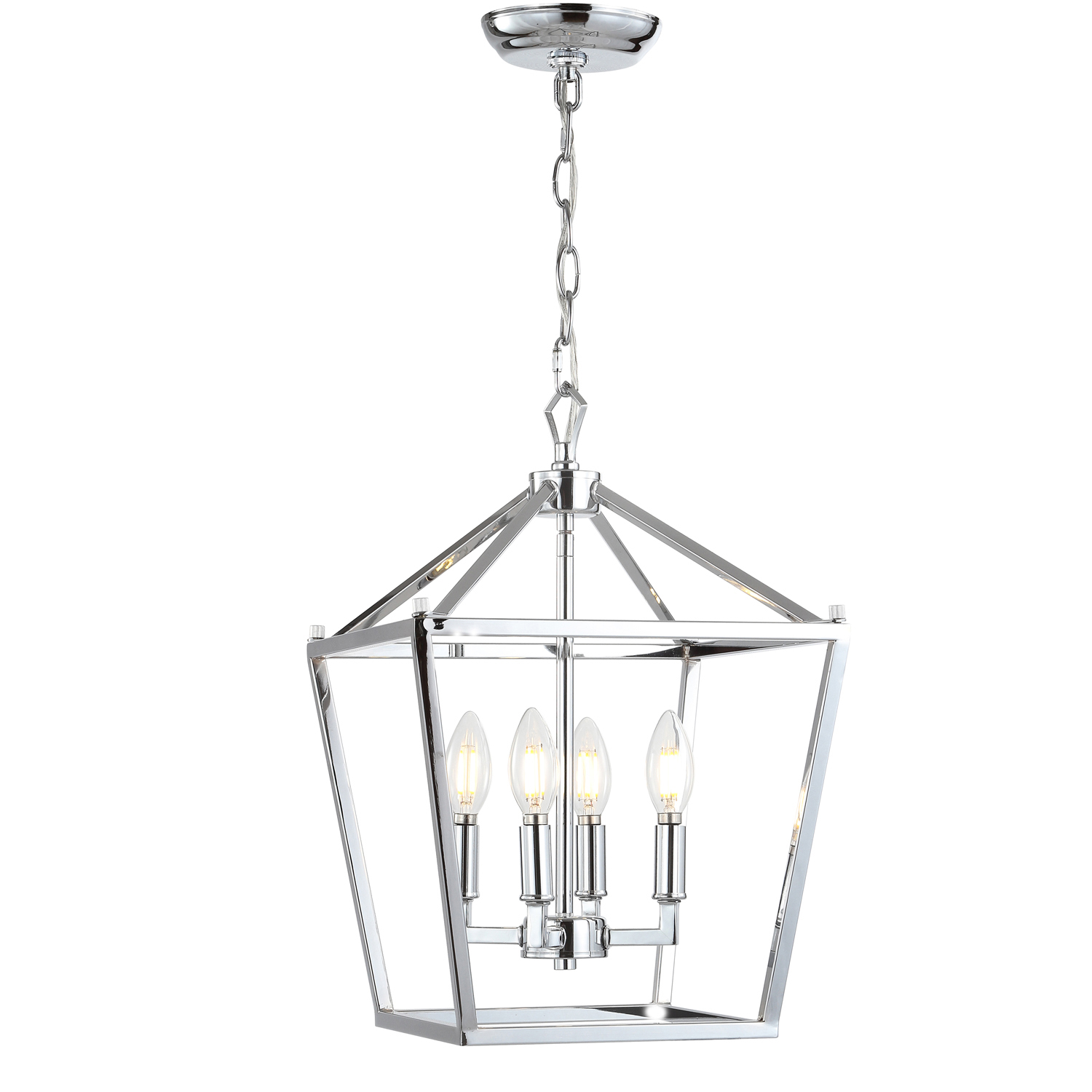 Lottie 4-Bulb Chrome Lantern Metal LED Pendant