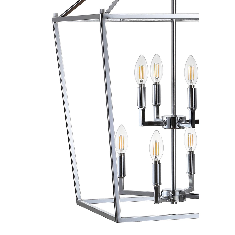 """20"""" Chrome Lantern Metal LED Pendant"""