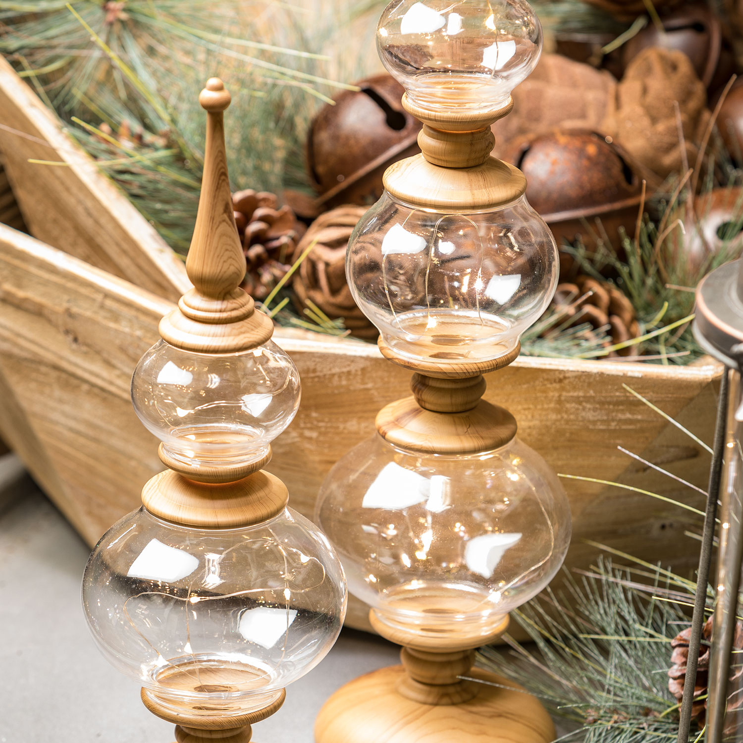 Large Wood Grain & Glass Lighted Tabletop Finial
