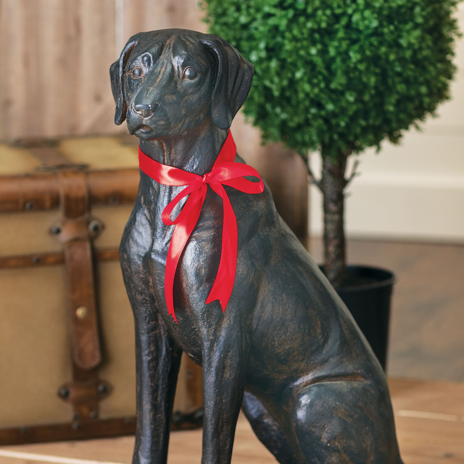 Festive Labrador with Red Bow