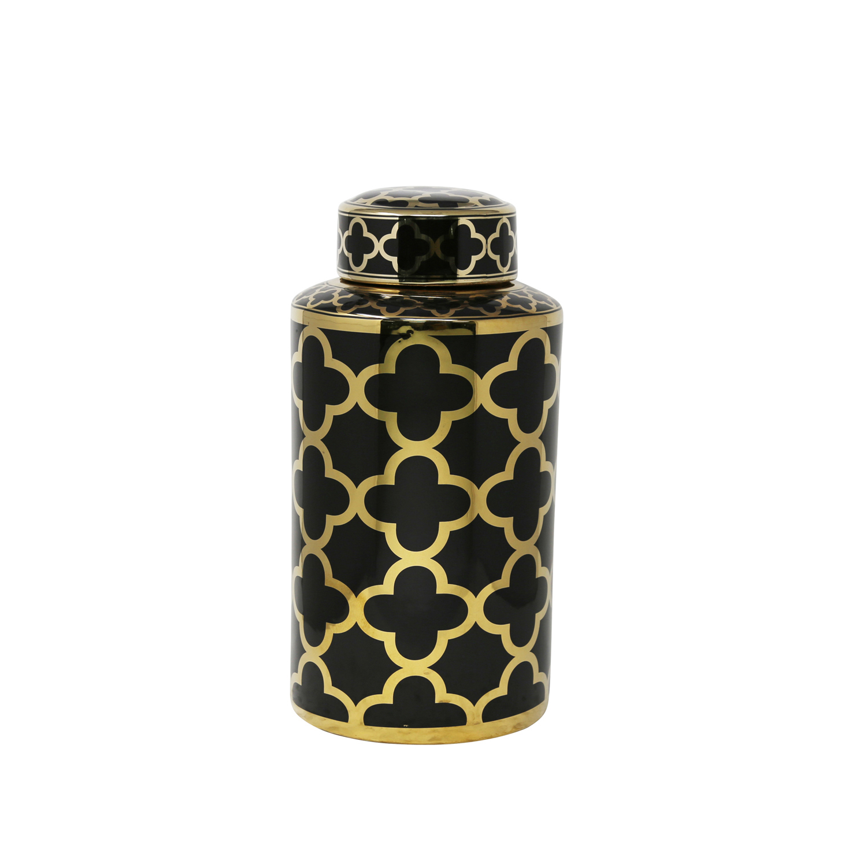 Abstract Black & Gold Ceramic Jar