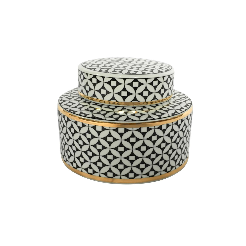 Geometric White & Black Jar