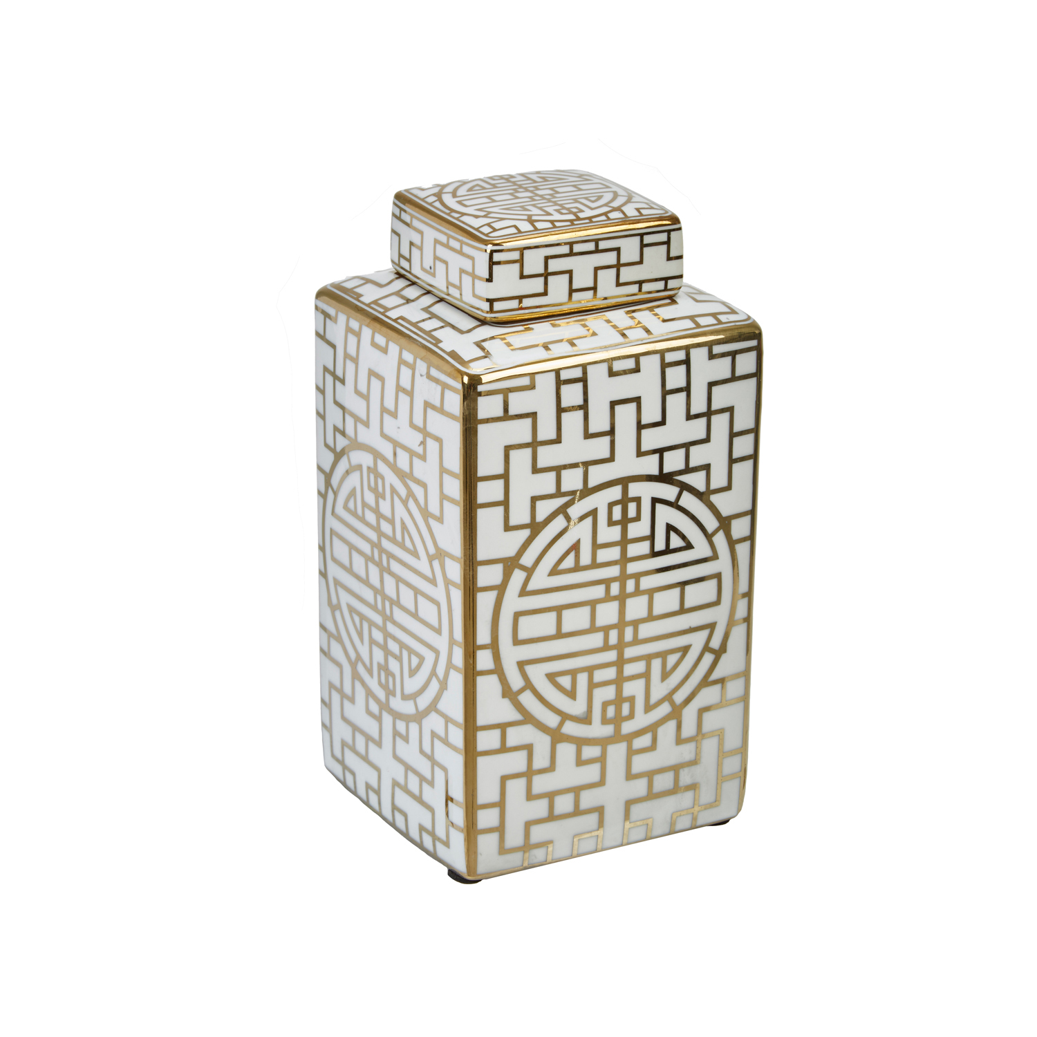 Geometric White & Silver Jar