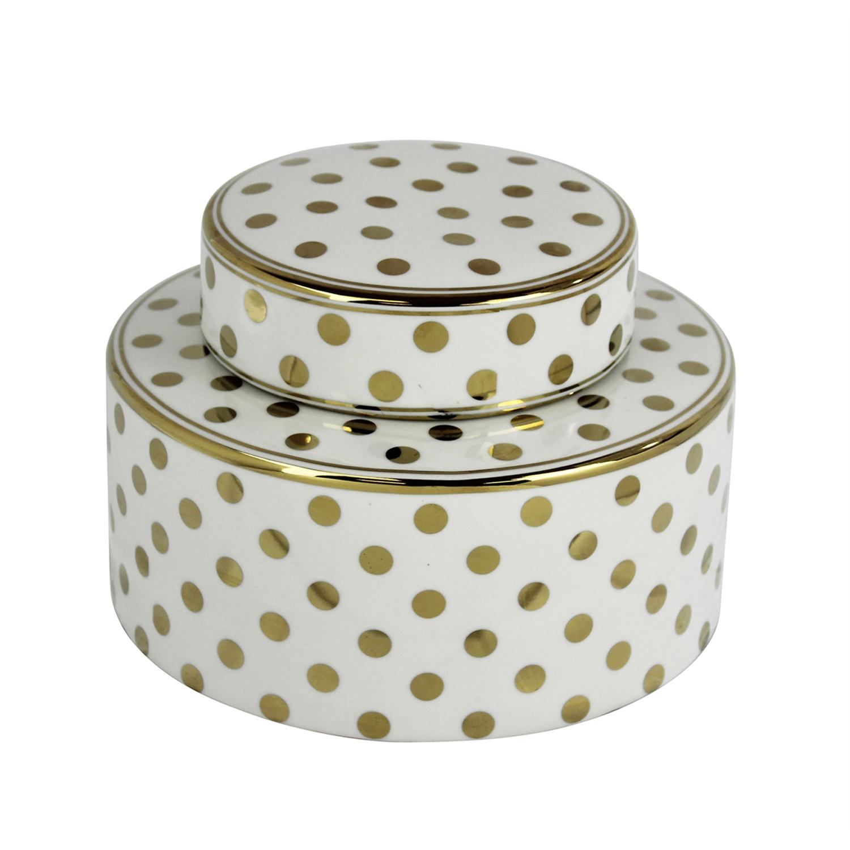 White & Gold Polka Dot Jar
