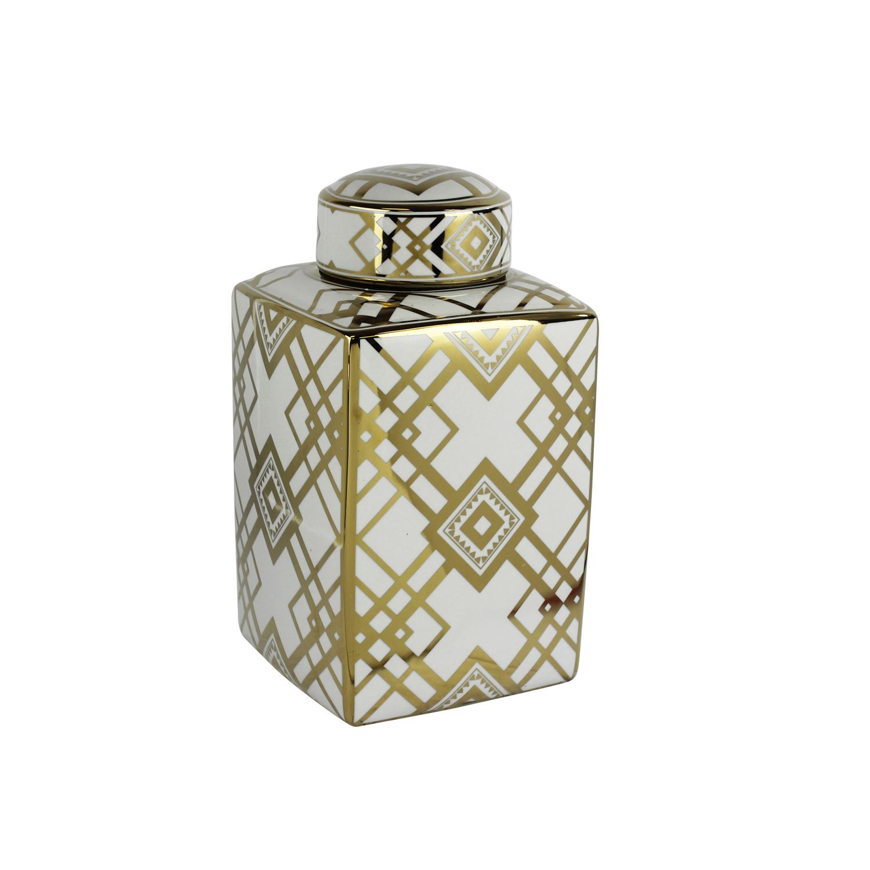 White & Gold Diamonds Ceramic Jar