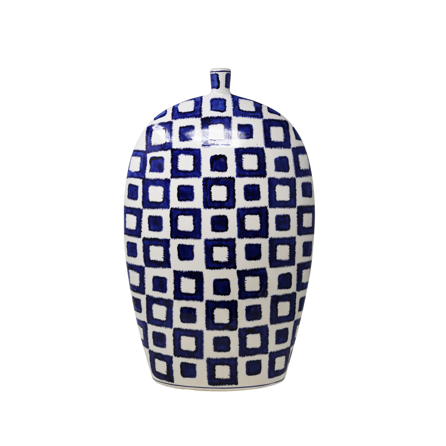 variation thumbnail of White & Blue Flat Vase