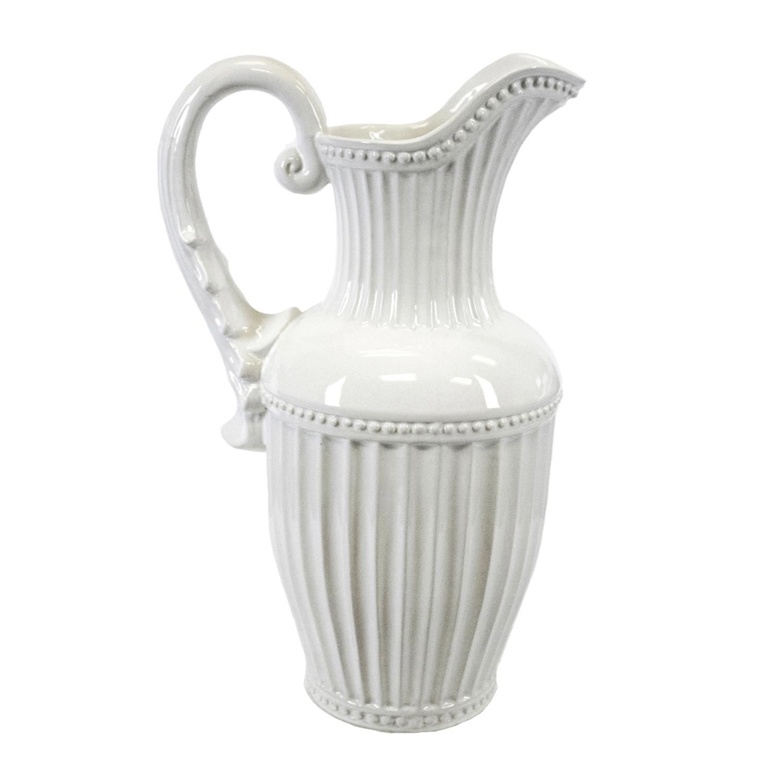 White Ceramic Decorative Pitcher