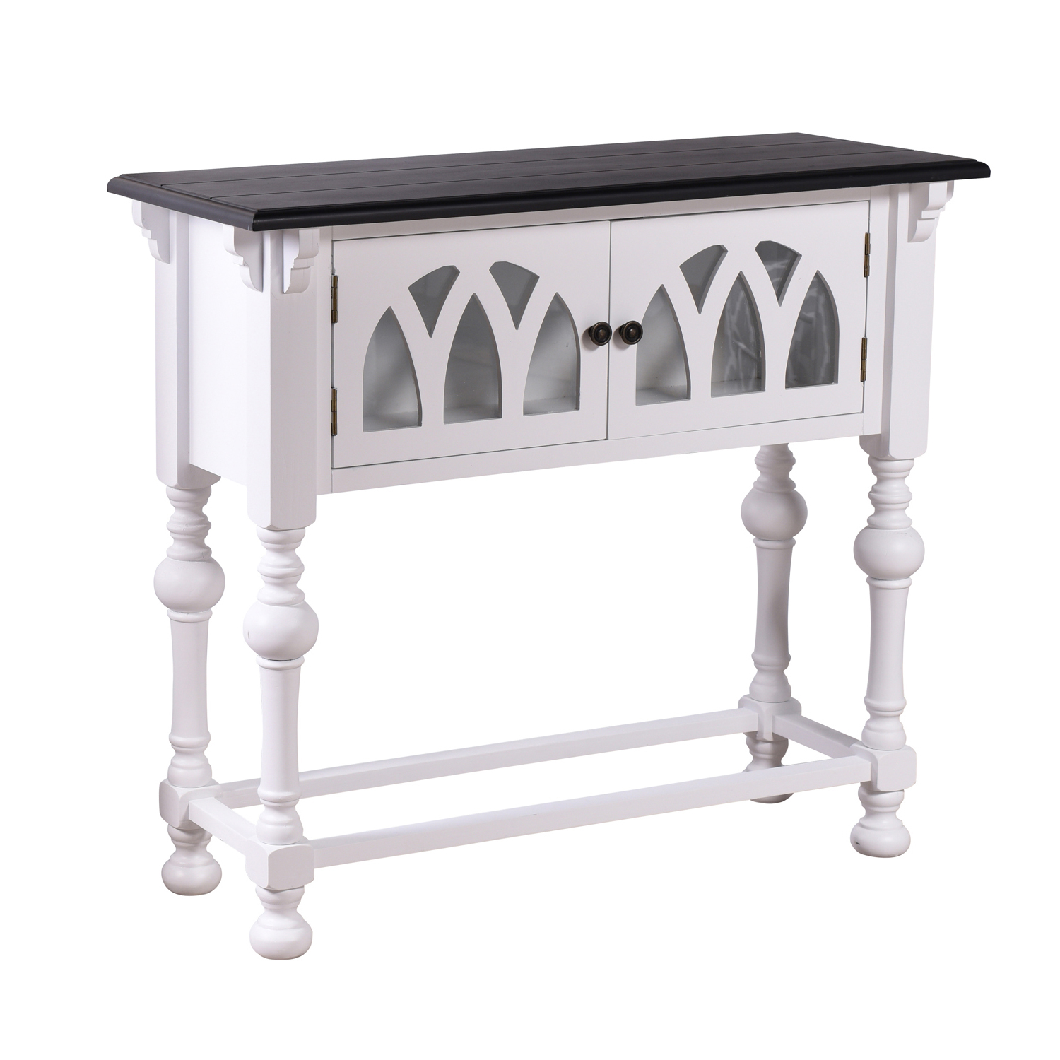 variation thumbnail of White & Black Elegant 2-Door Console Table