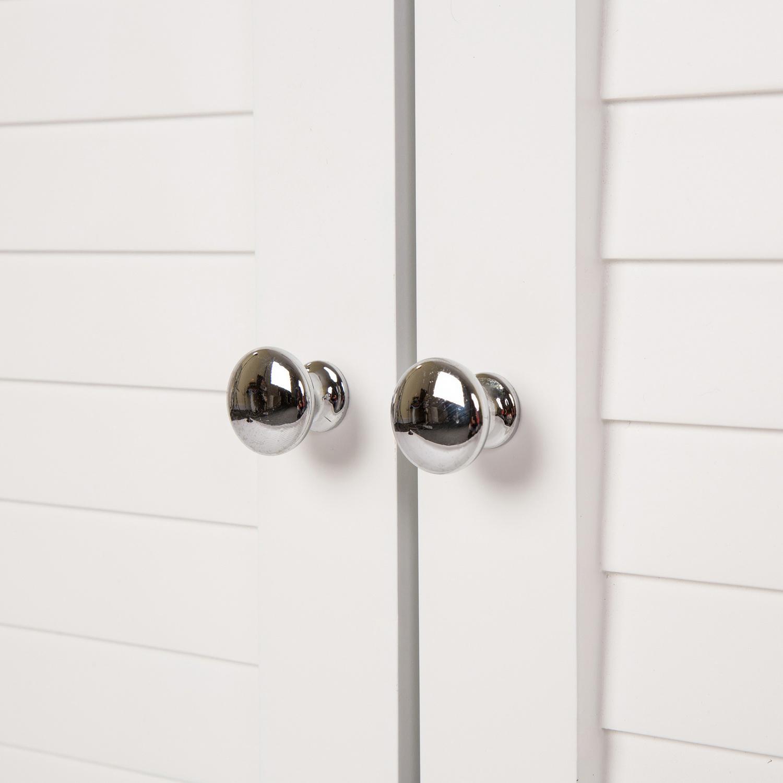 White Wooden Shutter-Door Floor Cabinet