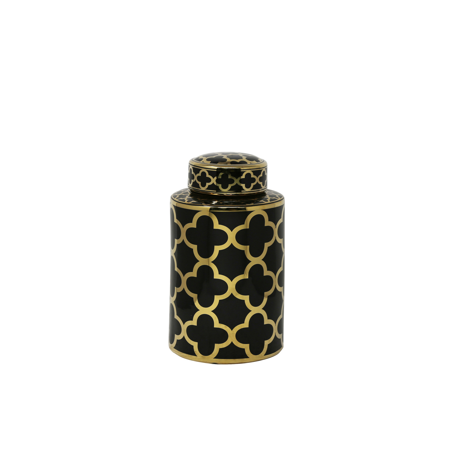 Black & Gold Elegant Glam Decorative Covered Jar