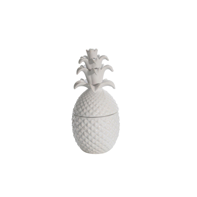 White Coastal Pineapple Motif Covered Jar