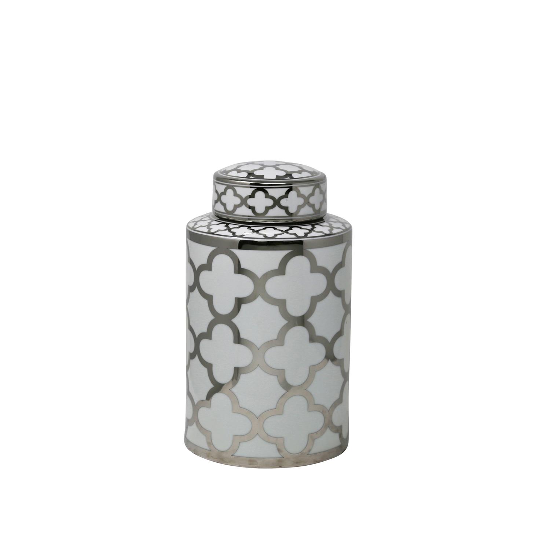 White & Silver Elegant Glam Decorative Covered Jar