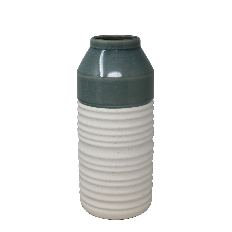 Green & White Coastal Decorative Vase