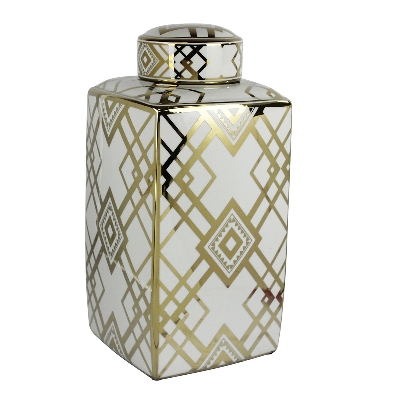 White & Gold Elegant Glam Decorative Square Covered Jar