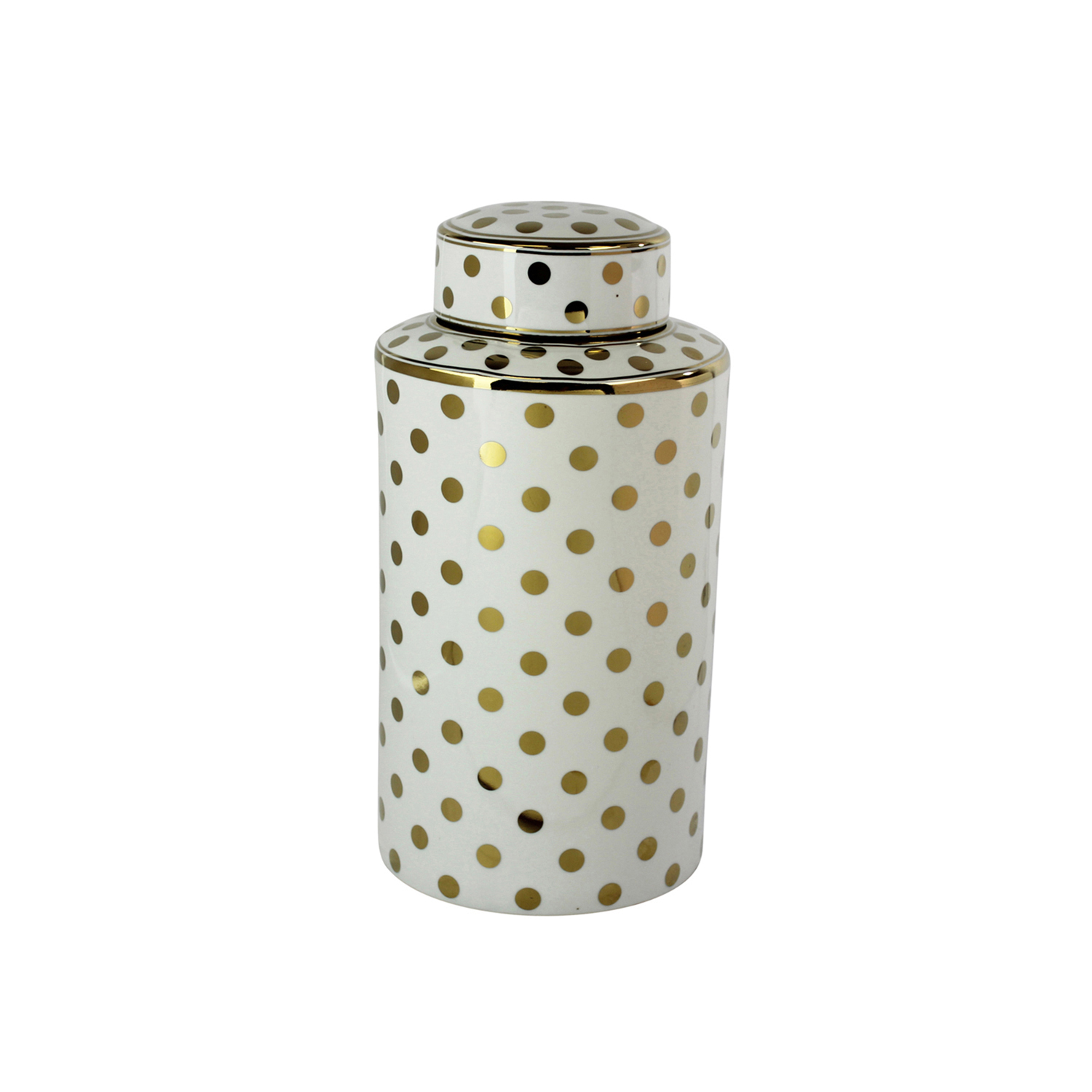 White & Gold Elegant Glam Decorative Covered Jar