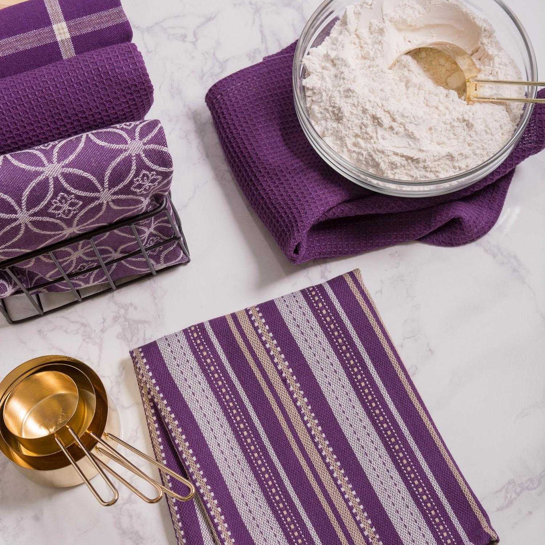 Purple Assorted Dishtowel & Dishcloth Set