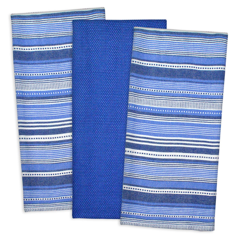 Blue MultiStripe Dishtowel Set