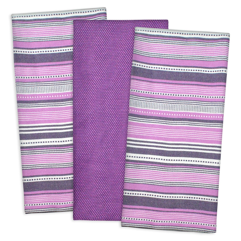 Purple MultiStripe Dishtowel Set
