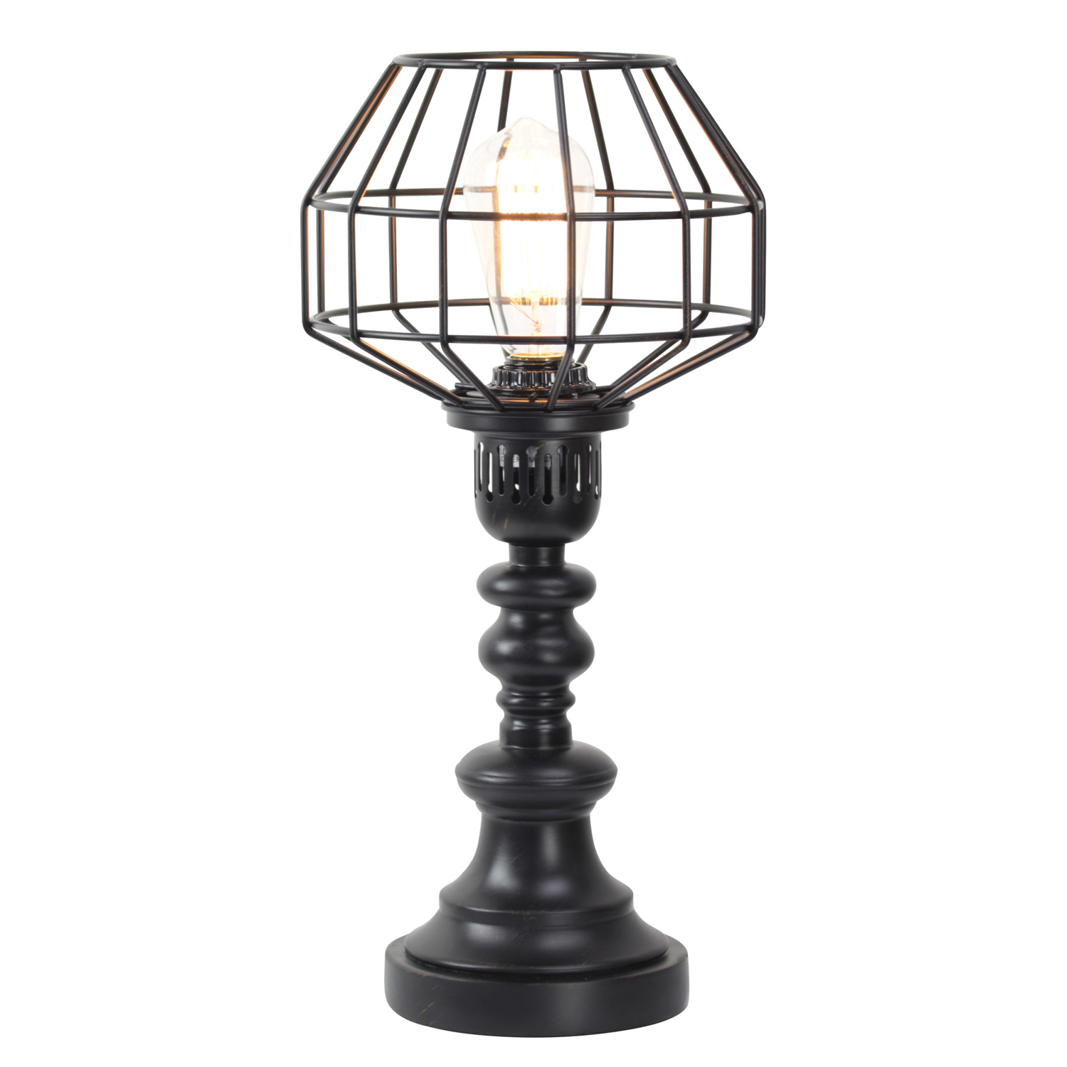 Metal Caged Wire Table Lamp