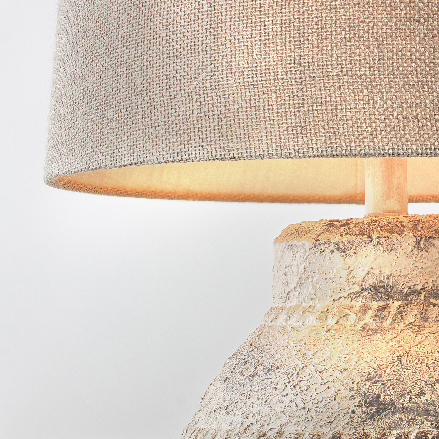 Concrete Table Lamp with Canvas Drum Shade