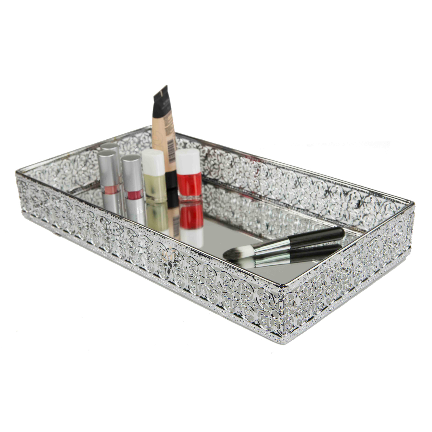 Chrome Ornamental Vanity Tray