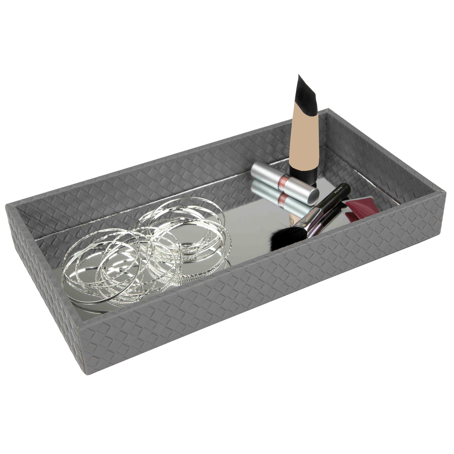 Mirrored Gray Faux Leather Vanity Tray