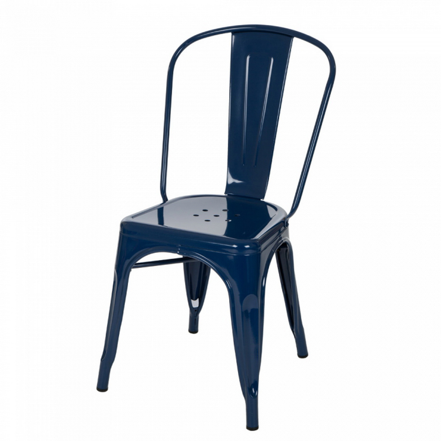 Vintage Light Navy Metal Dining Side Chair Set