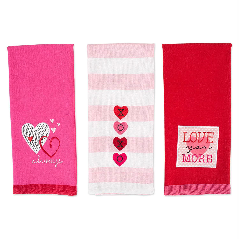 Valentine's Day Embroidered Hearts Dishtowel Set