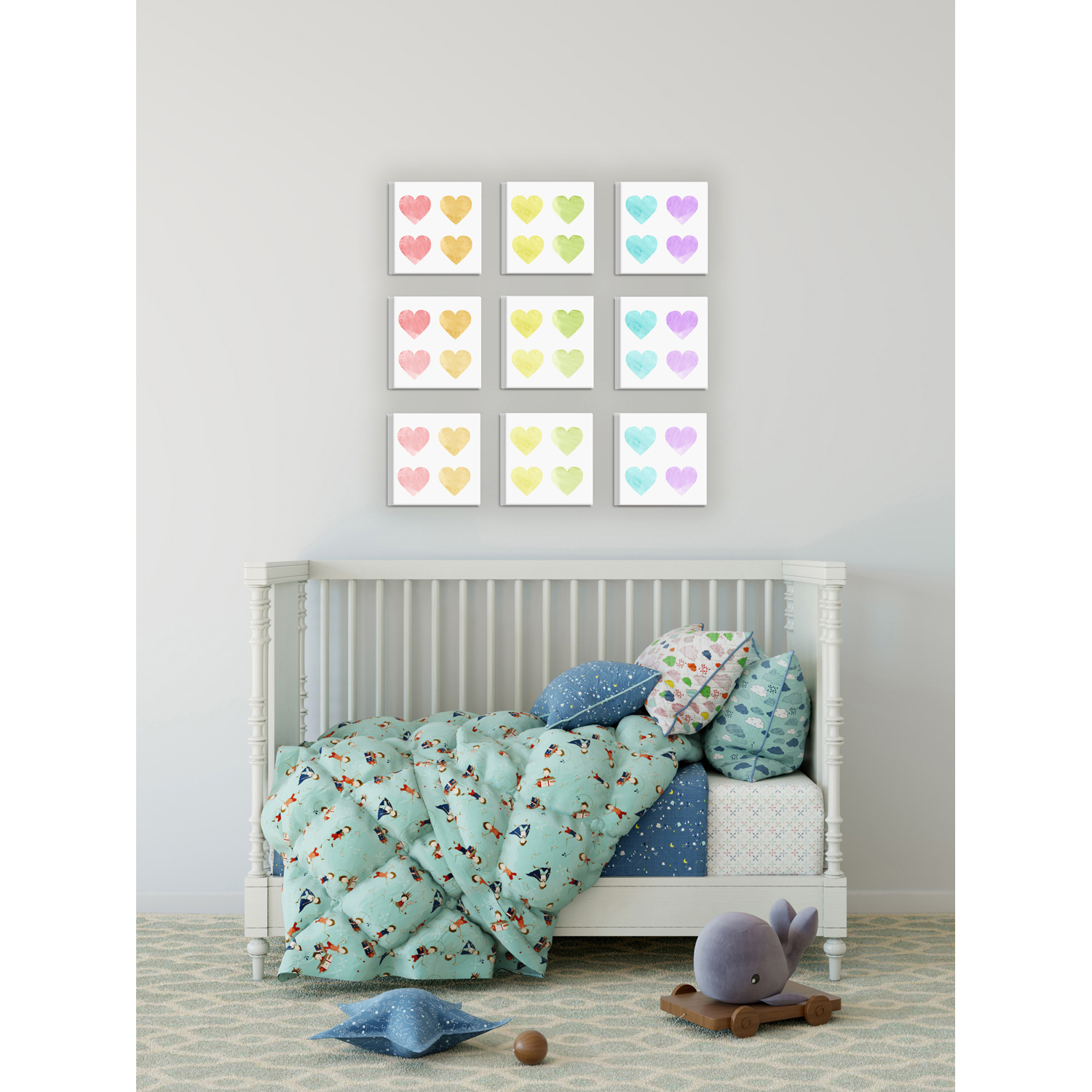 Pastel Hearts 9 Piece Stretched Canvas