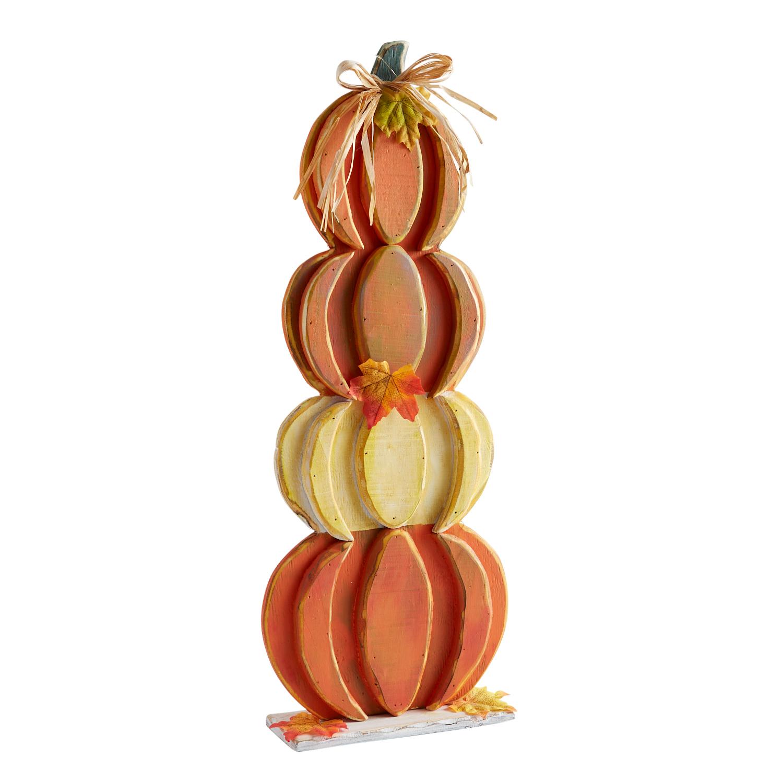 Wooden Stacked Pumpkins