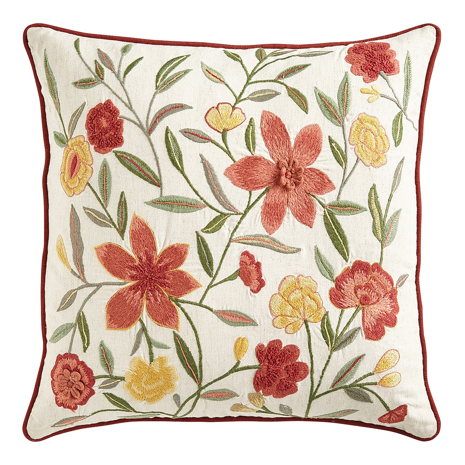 Embossed All-Over Fall Floral Pillow