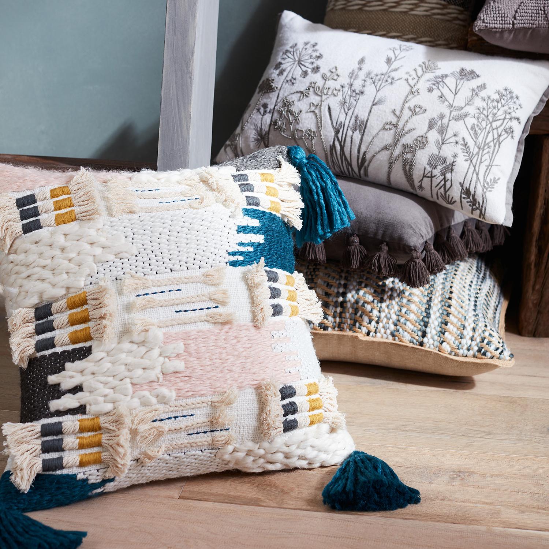 Embossed Floral Field Gray Lumbar Pillow
