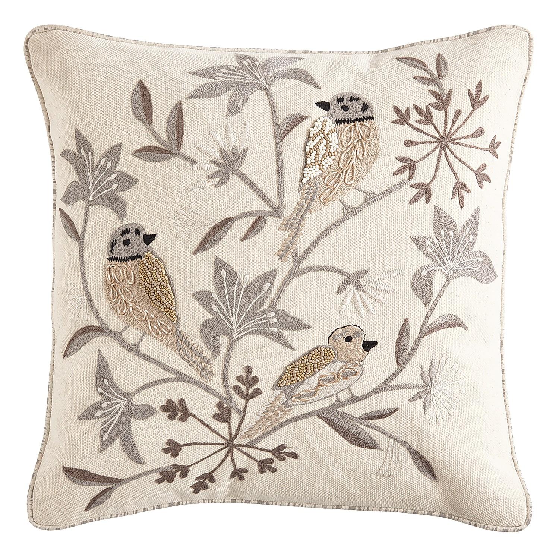 Embossed Farmhouse Birds Neutral Pillow