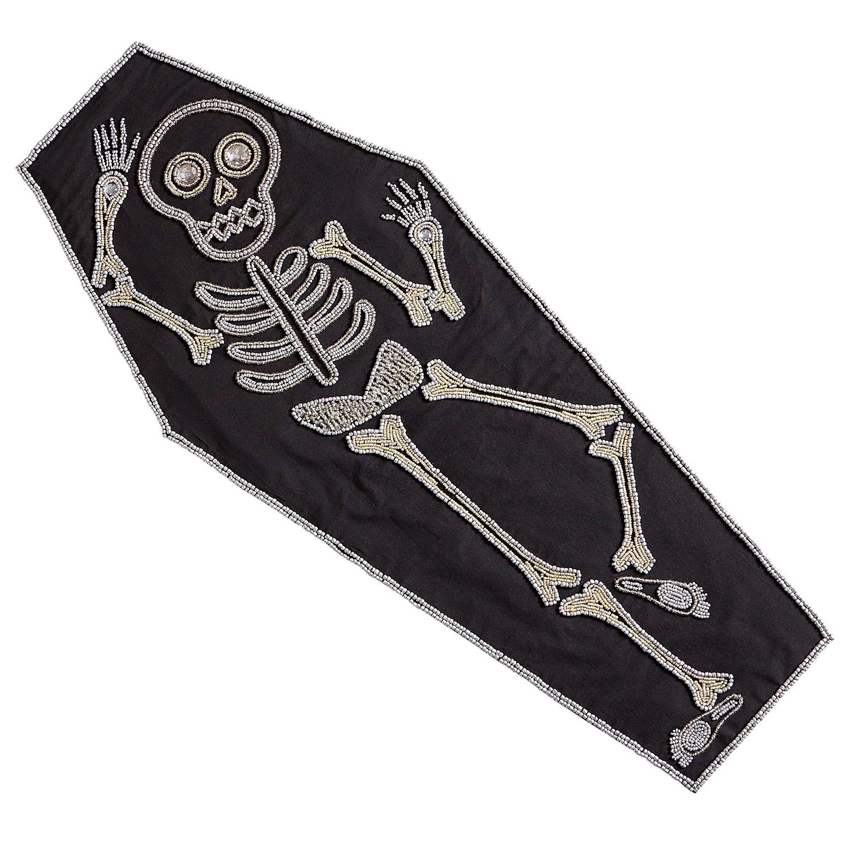 """35"""" Beaded Coffin Halloween Table Runner"""
